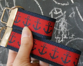 Nautical Anchors Key Chain // Mini Fob, Wristlet, or Set // Preppy Anchors Ribbon and Webbing Key Fobs, Red and Navy, Wrist Lanyard