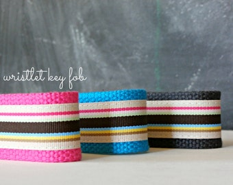 Preppy Wristlet Key Chain, Ribbon and Webbing Wrist Key Fob, Neutral and Neon Stripes, Wrist Lanyard, Great Teacher or Back-to-School Gift