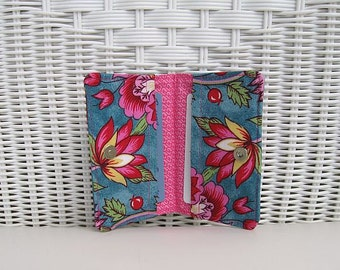 READY-TO-SHIP Business Card Holder Pink & Turquoise  / Card Wallet / Card Holder / Pink Card Holder