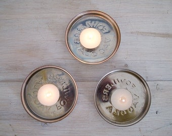 "vintage large candle holder - 4"" fowler's vacola lids, stainless steel"