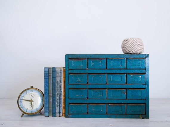 vintage industrial metallic blue metal storage cabinet with 16 drawers