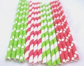 Christmas MiX ---Paper  Straws---25ct with Free Printable diy Flags