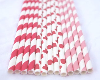 Valentine MiX ---Paper  Straws---25ct with Free Printable diy Flags