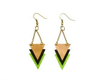 Arrow Earrings / Handmade / Geometric Jewelry / Gold Black Lime