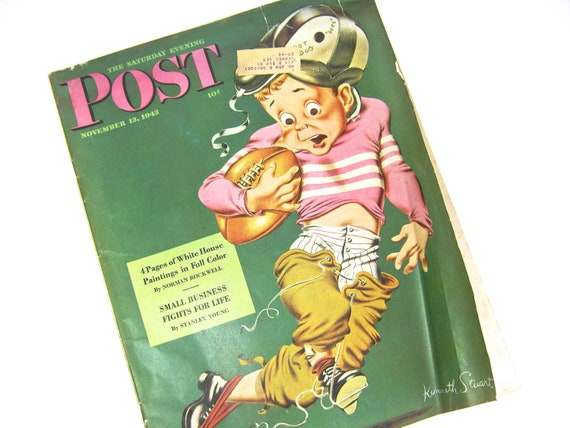 Vintage Saturday Evening Post Magazine 1943 Norman Rockwell Football White House Washington DC