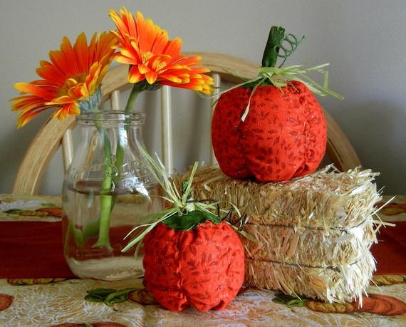 Stuffed Fabric Pumpkins, Set of Two Pumpkins, Hand Made Fall Decor, Primitive Autumn Decoration, Plush Halloween Decor