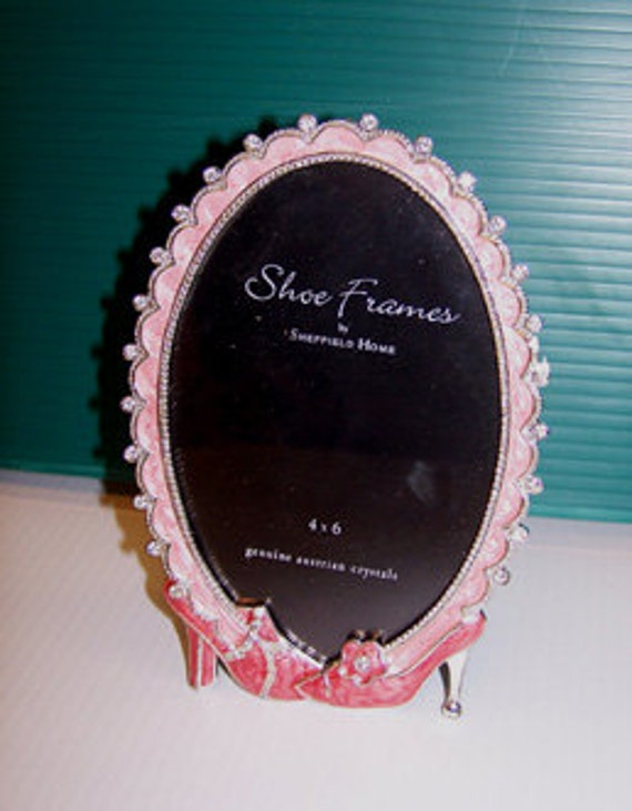 Pink Jeweled Shoe Picture Frame