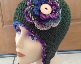 Free Shipping Women's Flower Ear Flap Beanie Hat in Hunter Green with Braids - MADE TO ORDER