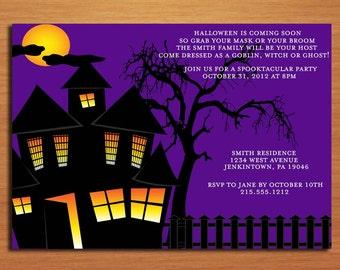 Spooky House Halloween Party Customized Printable Invitations /  DIY