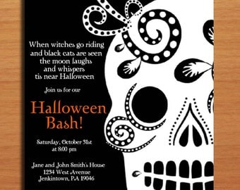 Sugar Skull / Day of the Dead Halloween Party Customized Printable Invitations /  DIY