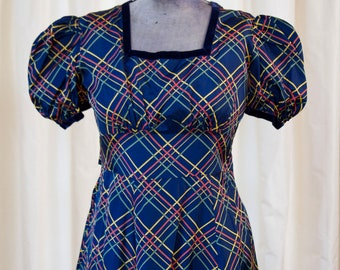 1930s Dress // Blue Plaid Puff Sleeve Dress