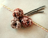 Crocheted Fall Rustic Roses/Set of Three