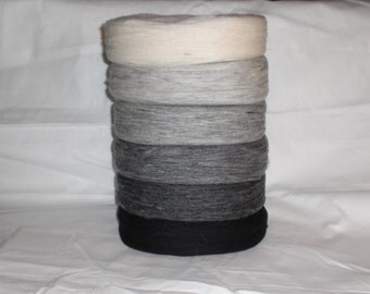 Un spun Icelandic wool/yarn in black, white and 4 grey colours