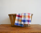 vintage french napkins from the 1950's, made of linen in multicolour checkered print