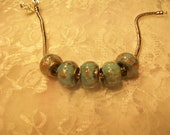 Murano Glass Bead with Gold Leaf, Charm, Spacer