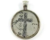 Men's Cross Pendant Gothic Dark Ornate Christian Cross Religious Spiritual Black Tan Silver Collage Jewelry Charm