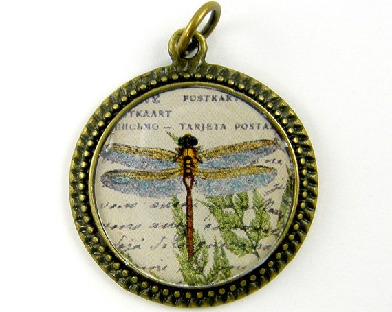 Dragonfly Pendant - Blue Green Rust Tan Insect Collage Art Nature Jewelry Charm