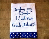 Embroidered burp cloth - Memphis- or you can name your coach