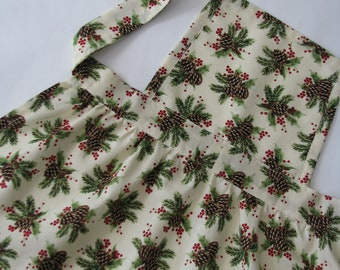 Full Christmas apron for girls - retro style with pinecone print - age 2 to 4