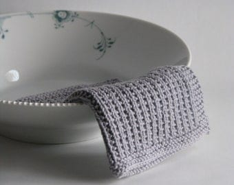 Dish cloth - wash cloth - soft knitted cotton grey concrete
