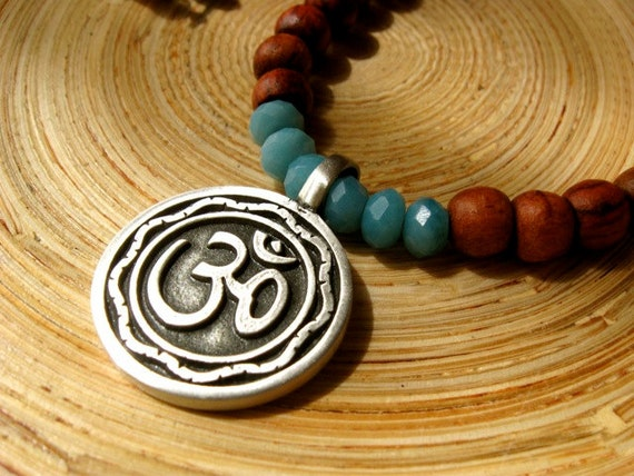 Om necklace with rosewood and amazonite