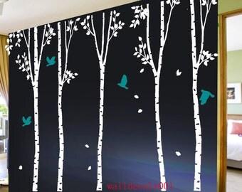 Vinyl Wall Decal wall Sticker wall decor Art - birds in birch forest -set of 5 100in birch trees