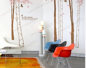 Vinyl Wall Decal,wall Sticker,wall decor, tree decals wall Art - In the forest-set of 7 trees