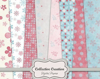 Winter Garden Digital Paper Set - Blue and Pink - COMMERCIAL & PERSONAL USE