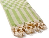 SALE 30% OFF Turkish Towel for Bath and Beach, Extra Absorbent Peshtemal - Apple Green and Gray