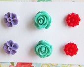 Floral Earrings Set Floral Stud Post Earrings Set Rose Earrings Lot of 3 Flower Post Set Purple Red Aqua Turquoise Mint Green Fall Winter