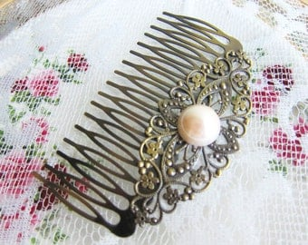 Vintage Style Pearl Hair Comb Shabby Chic Bridal Wedding Headpiece White Ivory Cream Bridesmaids Modern Victorian Hair Slide with Pearl JW