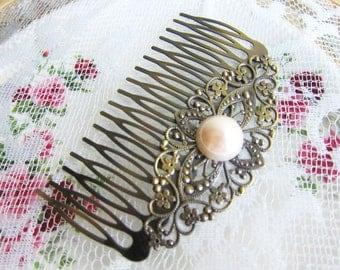 Bridesmaids Hair Comb Pearl Hair Slide for Bride Victorian Edwardian Art Deco Wedding Bridal Headpiece Hair Accessories Film Noir Rustic