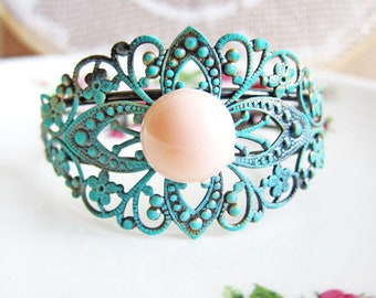Bridesmaids Cuff Bracelet Customized Soft Coral Peach Aqua Teal Blue Turquoise Mint Bangle Wedding Bridal Something Blue Gift For Her