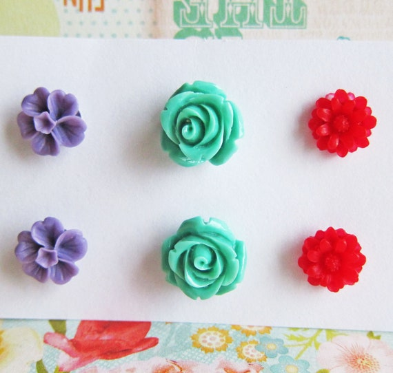Floral Earrings Set Floral Stud Post Earrings Set Rose Earrings Lot of 3 Flower Post Set Purple Red Aqua Turquoise Mint Green Fall Winter