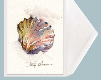 Watercolor Shell Greeting Card - Rainbow Scallop by Dotty Reiman - option to add your personal message inside of card!