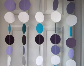 Paper Garland, Turquoise, White, and Purple Circles Dangling Decorations, Baby Girl Shower Garlands, Wedding Curtain, Showers
