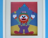 This 8x10 fabric circus CLOWN will brighten any childs room or babies nursery. Original Art Customised and Personalised for you