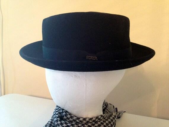 Vintage SCALA Black Wool Porkpie Fedora Hat Hipster Medium M