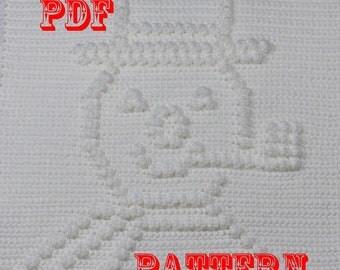 Crochet Pattern Frosty the Snowman - Crochet Baby Security Blanket  - Frosty the Snowman Blanket Pattern - Car Seat or Stroller Blanket
