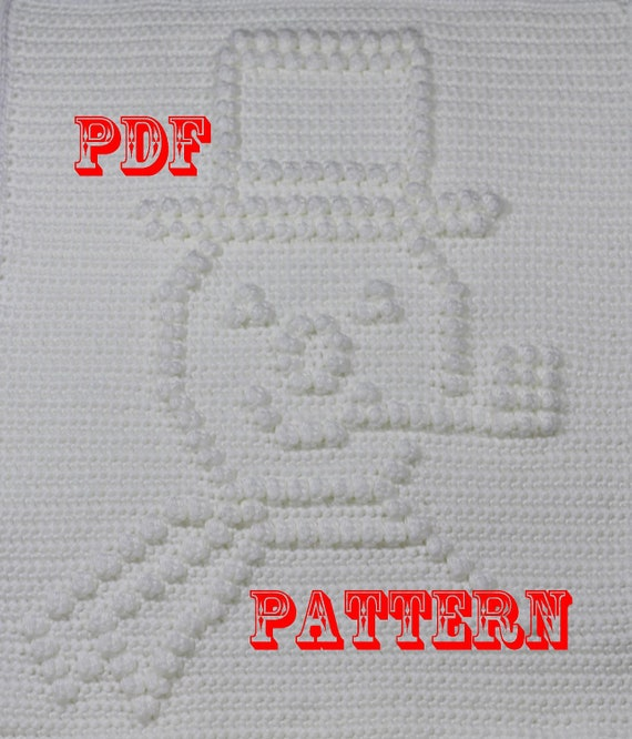 Crochet Pattern Frosty the Snowman - Crochet Baby Security Blanket  - Frosty the Snowman Blanket Pattern - Car Seat or Stroller Blanket