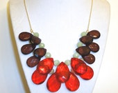Red Focal Necklace - Chunky Acrylic Teardrop Bauble Beads - Fall Colors - Brown, Gold, Red, Mint Green