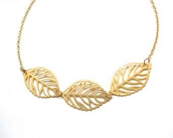 Gold Leaf Necklace Minimalist