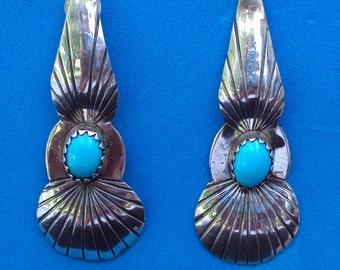 Vintage Sterling Silver Turquiose Earrings
