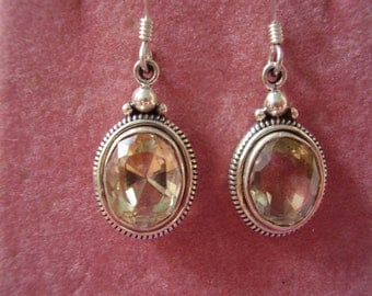 Vintage Sterling Silver Brazilian Cut Lemon Citrine Earrings