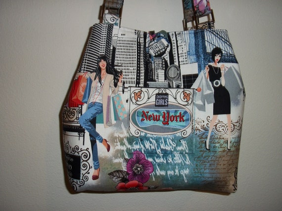 large tote bag purse in New York fabric
