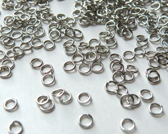 100 Jump Rings round open antique silver 4mm 21 gauge DB00035