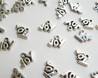 10 Joy charms Christmas antique silver 9x14mm H11002