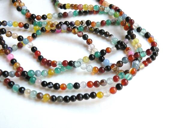 1 Multi-color natural Agate gemstone round beads 3mm full strand 3682KS
