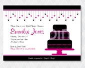 "Bridal Shower Invitation, DIY Printable File ""Two Hearts Collide"""