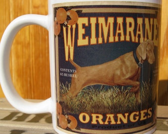 Weimaraner Crate Label Coffee Mug